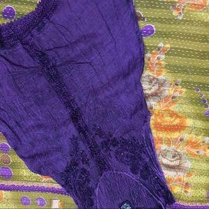 LSI  Purple tunic sleeveless and crochet detail OS